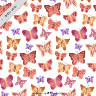 Patrón de mariposas de acuarela