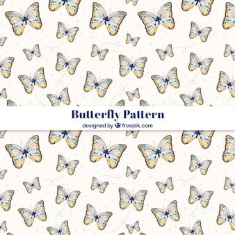 Patrón de mariposas dibujadas a mano