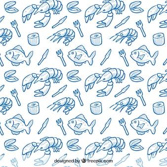 Patrón de marisco dibujado a mano