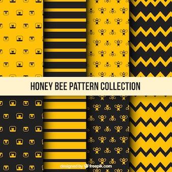 Patrón de miel con abejas