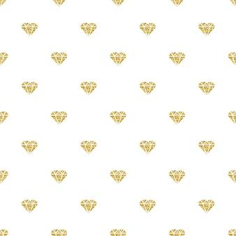 Patrón de moda sin fisuras con brillo de diamante de oro sobre fondo blanco