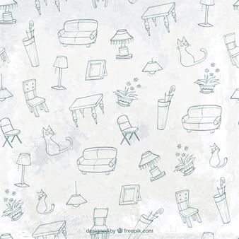 Patrón de muebles esbozados
