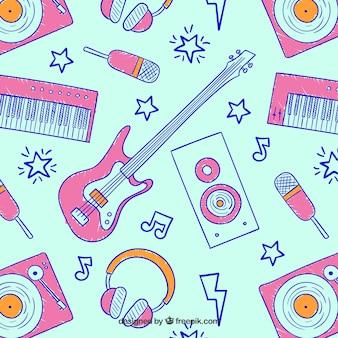 Patrón de música dibujado a mano