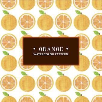 Patrón de naranja pintado a mano en acuarela
