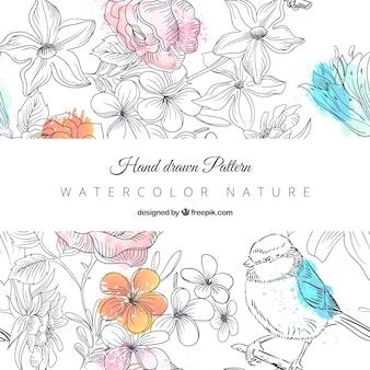 Patrón de naturaleza dibujado a mano