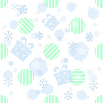 Patrón de Navidad transparente con regalo, snwflake y geométrica sobre fondo blanco