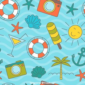 Patrón de ondas con elementos de verano