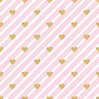 Patrón de oro sin fisuras corazón brillo en fondo rosa raya