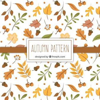 Patrón de otoño con hojas secas dibujadas a mano