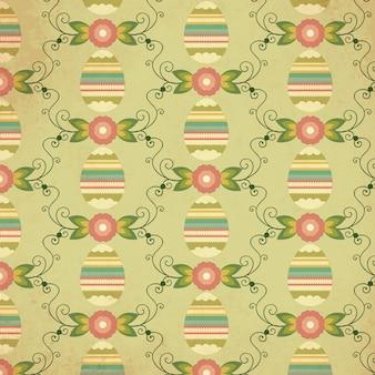 Patrón de Pascua con huevo, flor y decoración