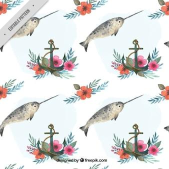 Patrón de pez espada de acuarela con ancla