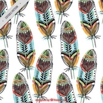 Patrón de plumas dibujadas a mano con colores