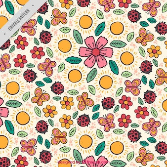 Patrón de primavera con flores e insectos