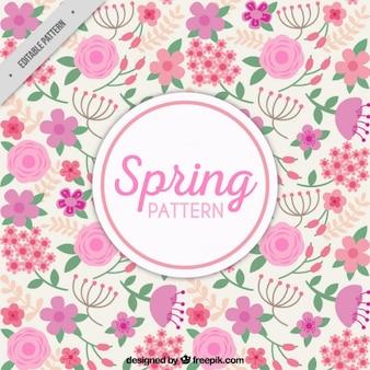 Patrón de primavera de flores rosas