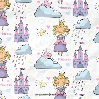 Patrón de princesa de cuento de hadas