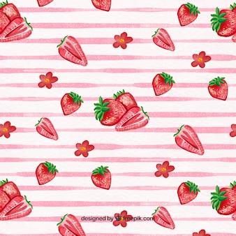 Patrón de rayas y fresas de acuarela