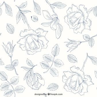 Patrón de rosas y hojas dibujadas a mano