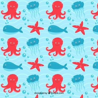 Patrón de simpáticas criaturas marinas