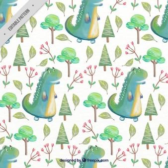 Patrón de simpático dinosaurio rex verde con árboles y flores