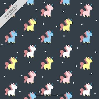 Patrón de tierno unicornio de colores