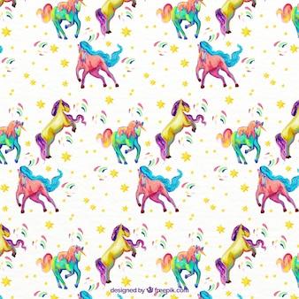 Patrón de unicornios a todo color