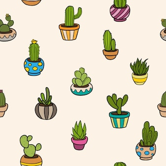 Patrón de varios cactus