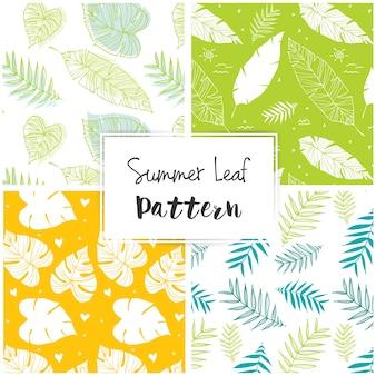 Patrón de verano con hojas
