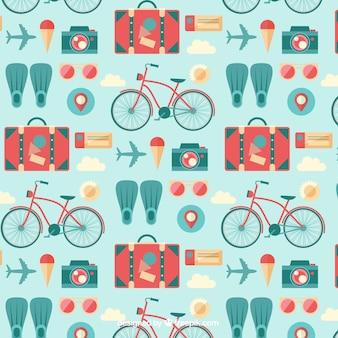 Patrón de viaje de verano en diseño plano