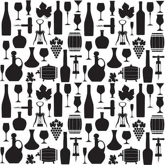 Patrón de vino en negro y blanco