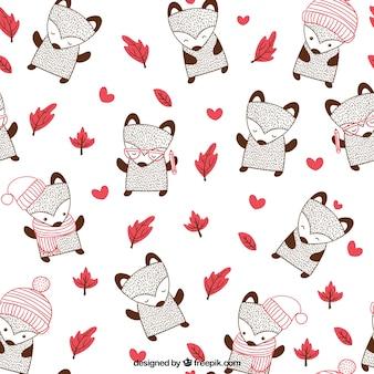 Patrón de zorro en otoño