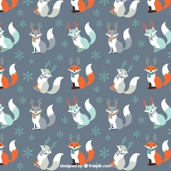 Patrón de zorro navideño