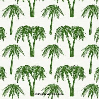 Patrón decorativo con palmeras verdes