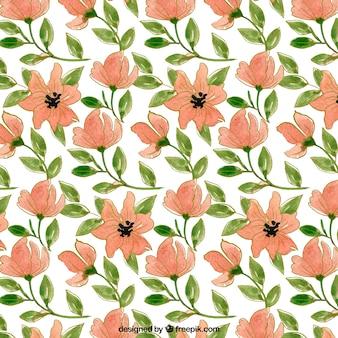 Patrón decorativo de flores y hojas de acuarela