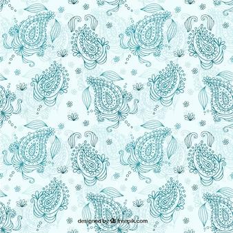 Patrón decorativo floral de estampado de cachemir