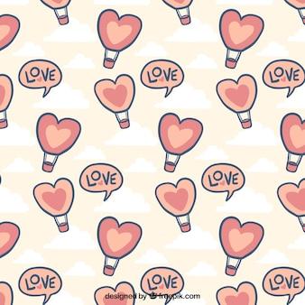Patrón dibujado a mano con globos de aire caliente para el día de san valentín