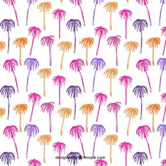 Patrón dibujado a mano con palmeras de colores