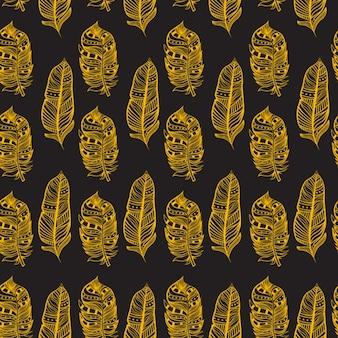 Patrón dibujado a mano de plumas amarillas