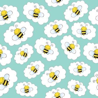Patrón dibujado a mano sin fisuras con abejas
