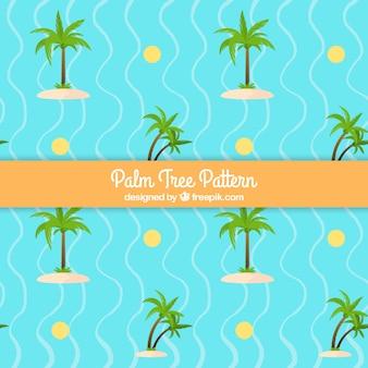 Patrón fantástico con palmeras y líneas onduladas
