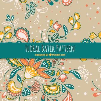 Patrón floral batik dibujado a mano