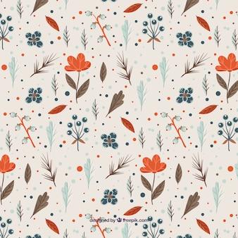 Patrón floral con flores naranjas