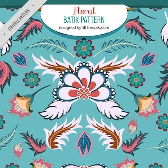 Patrón floral con hojas en estilo batik