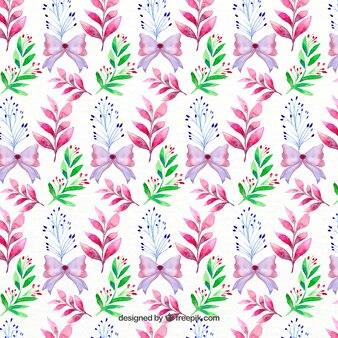 Patrón floral con lazos morados