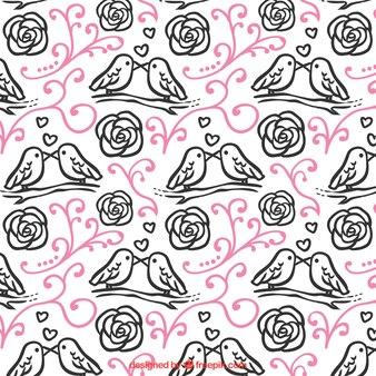 Patrón floral con pájaros para el día de san valentín