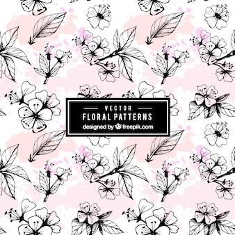 Patrón floral de acuarela dibujados a mano
