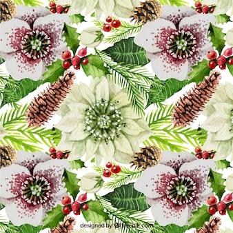 Patrón floral de navidad
