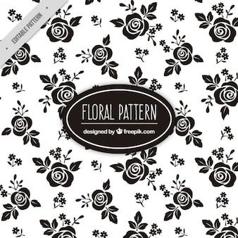 Patrón floral de rosas negras