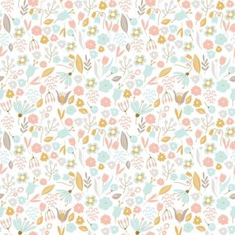 Patrón floral dibujado a mano en colores pastel