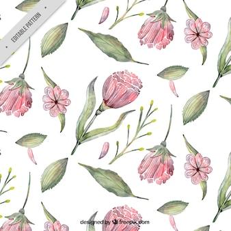 Patrón floral en estilo de acuarela