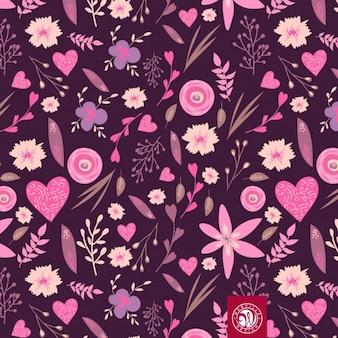Patrón floral en tonos rosas